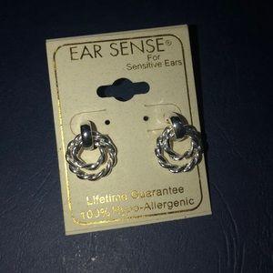 Silver double rope earrings
